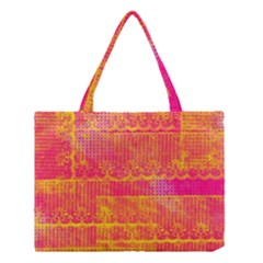 Yello And Magenta Lace Texture Medium Tote Bag