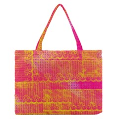 Yello And Magenta Lace Texture Medium Zipper Tote Bag