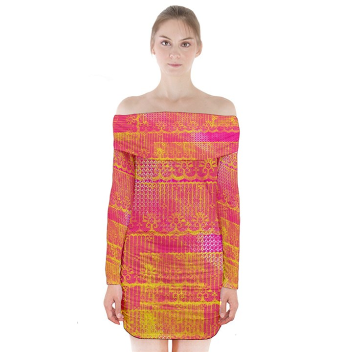 Yello And Magenta Lace Texture Long Sleeve Off Shoulder Dress