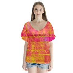 Yello And Magenta Lace Texture Flutter Sleeve Top