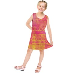 Yello And Magenta Lace Texture Kids  Tunic Dress