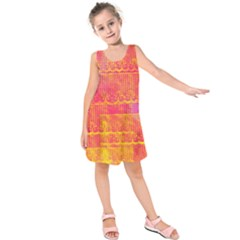 Yello And Magenta Lace Texture Kids  Sleeveless Dress