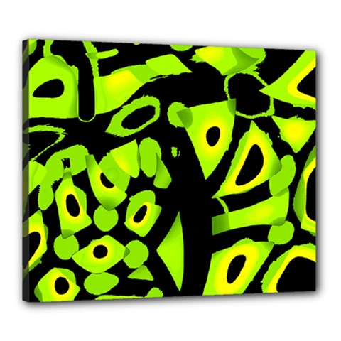 Green neon abstraction Canvas 24  x 20