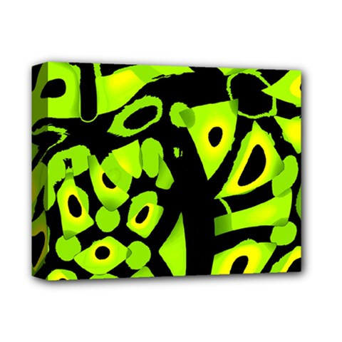 Green neon abstraction Deluxe Canvas 14  x 11