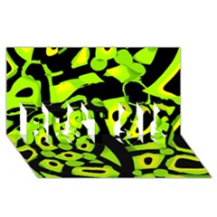 Green neon abstraction BEST SIS 3D Greeting Card (8x4)
