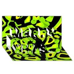 Green neon abstraction Merry Xmas 3D Greeting Card (8x4)