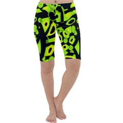 Green neon abstraction Cropped Leggings