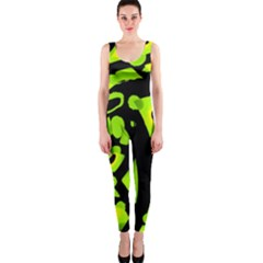 Green neon abstraction OnePiece Catsuit