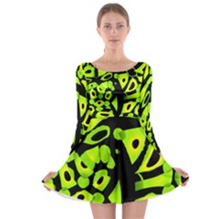 Green neon abstraction Long Sleeve Skater Dress