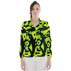 Green neon abstraction Wind Breaker (Women)