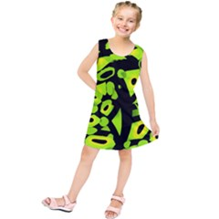 Green Neon Abstraction Kids  Tunic Dress