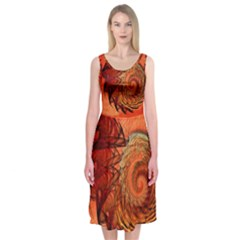 Nautilus Shell Abstract Fractal Midi Sleeveless Dress