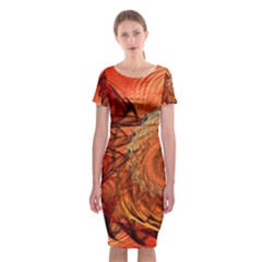 Nautilus Shell Abstract Fractal Classic Short Sleeve Midi Dress