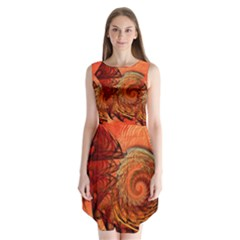Nautilus Shell Abstract Fractal Sleeveless Chiffon Dress