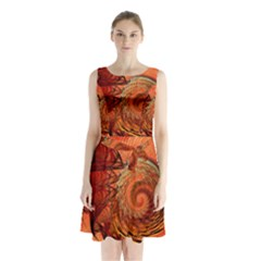 Nautilus Shell Abstract Fractal Sleeveless Chiffon Waist Tie Dress