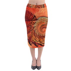 Nautilus Shell Abstract Fractal Midi Pencil Skirt