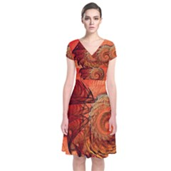Nautilus Shell Abstract Fractal Short Sleeve Front Wrap Dress