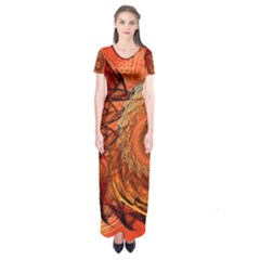 Nautilus Shell Abstract Fractal Short Sleeve Maxi Dress