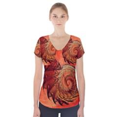 Nautilus Shell Abstract Fractal Short Sleeve Front Detail Top