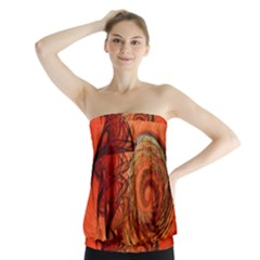 Nautilus Shell Abstract Fractal Strapless Top