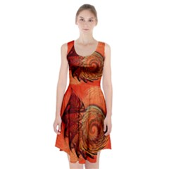 Nautilus Shell Abstract Fractal Racerback Midi Dress
