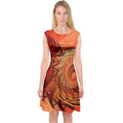 Nautilus Shell Abstract Fractal Capsleeve Midi Dress