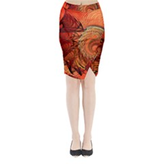 Nautilus Shell Abstract Fractal Midi Wrap Pencil Skirt