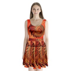 Nautilus Shell Abstract Fractal Split Back Mini Dress
