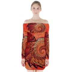 Nautilus Shell Abstract Fractal Long Sleeve Off Shoulder Dress