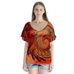 Nautilus Shell Abstract Fractal Flutter Sleeve Top