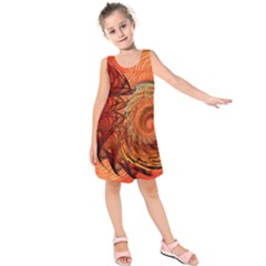 Nautilus Shell Abstract Fractal Kids  Sleeveless Dress
