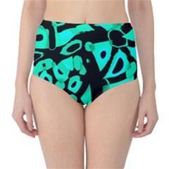 Cyan design High-Waist Bikini Bottoms