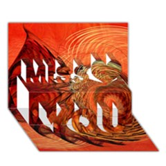 Nautilus Shell Abstract Fractal Miss You 3D Greeting Card (7x5)