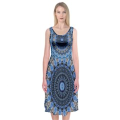 Feel Blue Mandala Midi Sleeveless Dress