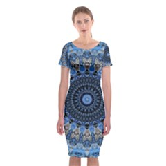 Feel Blue Mandala Classic Short Sleeve Midi Dress