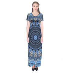 Feel Blue Mandala Short Sleeve Maxi Dress