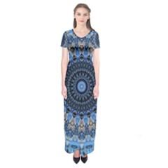 Feel Blue Mandala Short Sleeve Maxi Dress