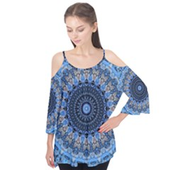Feel Blue Mandala Flutter Tees