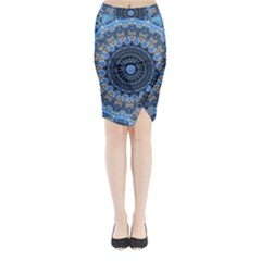 Feel Blue Mandala Midi Wrap Pencil Skirt
