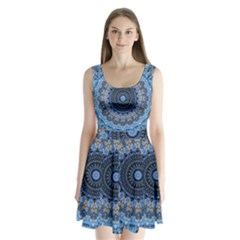 Feel Blue Mandala Split Back Mini Dress