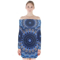 Feel Blue Mandala Long Sleeve Off Shoulder Dress