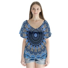Feel Blue Mandala Flutter Sleeve Top
