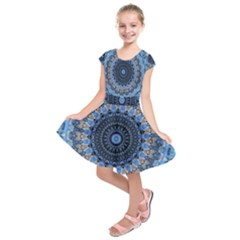 Feel Blue Mandala Kids  Short Sleeve Dress