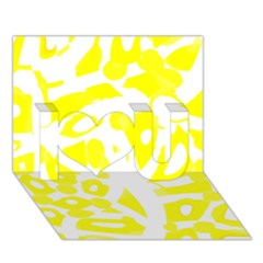 yellow sunny design I Love You 3D Greeting Card (7x5)