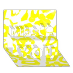 Yellow Sunny Design Miss You 3d Greeting Card (7x5)