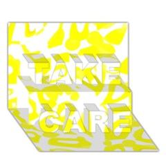 yellow sunny design TAKE CARE 3D Greeting Card (7x5)