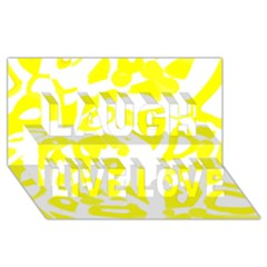 yellow sunny design Laugh Live Love 3D Greeting Card (8x4)