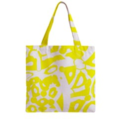 yellow sunny design Zipper Grocery Tote Bag