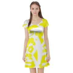 yellow sunny design Short Sleeve Skater Dress