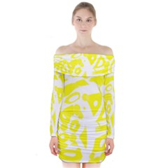 yellow sunny design Long Sleeve Off Shoulder Dress